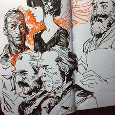 black and orange Sketchbook Inspiration, Art Sketchbook, Drawing Sketches, Art Drawings, Sketching, Comic Style, Character Art, Character Design, Art Studies