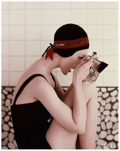 "PHOTO Richard Rutledge for Vogue, January 1956 ""Model Looks Through Waterproof Camera"""