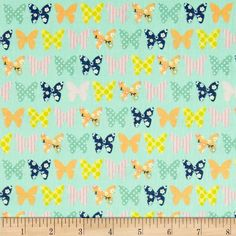 Riley Blake A Beautiful Thing Butterfly Blue from @fabricdotcom  Designed by Zoe Pearn for Riley Blake, this cotton print is perfect for quilting, apparel and home decor accents.  Colors include white, pink, yellow, orange and blue on a mint green background.