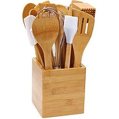 This 15-piece bamboo kitchen tool set features a bamboo crock holding 14 bamboo utensils. This bamboo utensil set is safe for nonstick surfaces and will update your cooking capabilities.