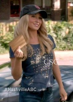 Hayden Panettiere as Juliette Barnes, wore this Lucca Couture Studded V-Back Tee on NASHVILLE episode I Can't Help It (If I'm Still in Love With You)