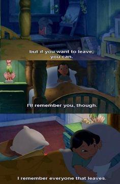 lilo and stitch. People always leave. To true Sad Disney, Cute Disney, Disney Magic, Disney Stuff, Rip Daddy, Lilo And Stitch Quotes, Lilo Y Stitch, Triste Disney, People Always Leave