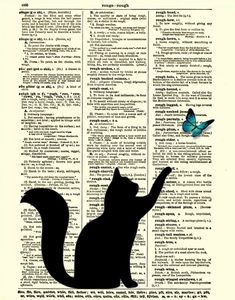 Black Cat Silhouette with Blue Butterfly Dictionary Art Print, Dictionary Print, Dictionary Page, 123. $10.00, via Etsy.
