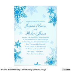 "Winter Blue Wedding Invitation 5"" X 7"" Invitation Card"