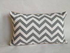 Grey Chevron Fabric and Burlap Lumbar Pillow by BouteilleChic, $24.00