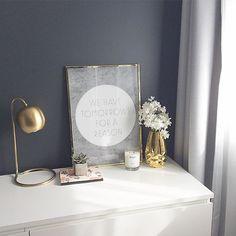 bedroom corner, white dresser, bedroom decor, styled dresser, dark wall bedroom, charcoal wall, brass table lamp
