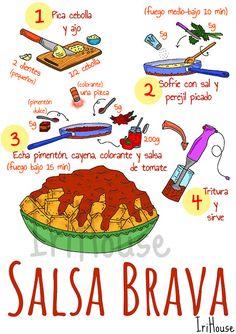 Easy Healthy Recipes, Great Recipes, Menu Express, Cartoon Recipe, Recipe Drawing, Salty Foods, Easy Halloween Crafts, Spanish Food, Bon Appetit