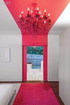 Pink striped master bedroom   Chet Callahan & Ghislaine Viñas Interior Design