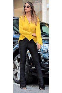 Calça Flare Bandagem Luxo Brilhosa - The Dress Code