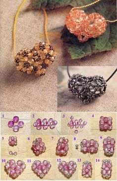 DIY Beaded Heart diy craft crafts easy crafts craft idea diy ideas home diy easy diy home crafts diy craft by Lailah Wire Jewelry, Jewelry Crafts, Beaded Jewelry, Jewellery, Beaded Bead, Heart Diy, Heart Crafts, Jewelry Patterns, Beading Patterns