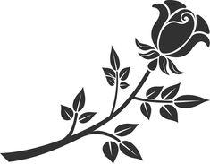 薔薇のイラスト見本-白黒・茎葉・枝