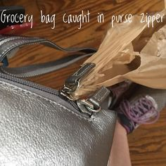 Well here's a first. There's nothing like carrying a bunch of grocery bags only to find out that a heavy double bag has gotten stuck inside your cross-body purse zipper.  #momlife #groceryshopping #food #healthyfood