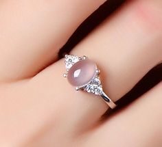 Silver ring with pink diamond - LadyStyle