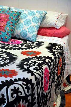 Pink Suzani bedspread