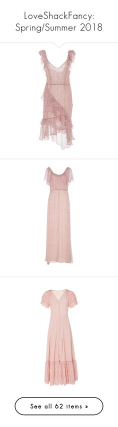 """""""LoveShackFancy: Spring/Summer 2018"""" by livnd ❤ liked on Polyvore featuring LoveShackFancy, livndfashion, springsummer2018, livndloveshackfancy, dresses, pink, floral high low dress, pink floral dresses, v neckline dress and pink ruffle dress"""