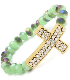 Blue Chip Unlimited - Unique 18k Gold Plated Crystal Sideways Cross with Jade Colored Beads Bracelet Fashion Jewelry Blue Chip Unlimited. $19.95. Perfect for any occasion!. Brand new item!. stretch bracelets. stunning, sideways facing cross charm. crystal beads. Save 80%!