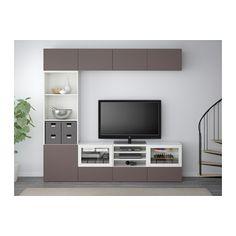 BESTÅ TV storage combination/glass doors - white/Valviken dark brown clear glass, drawer runner, soft-closing - IKEA