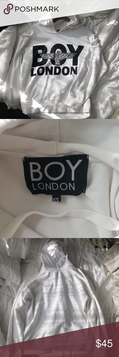 BOY LONDON WHITE HOODIE XS white boy london hoodie size xs. I am a size small and this fit me just fine. Great condition ! Boy London Sweaters