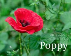Papaver Giant Poppy Pattern - Crochet Giant Poppy - Crochet Flower Pattern - crochet pattern for Decor, Bouquets and Arrangements Poppy Crochet, Crochet Poppy Pattern, Crochet Flower Patterns, Flower Applique, Crochet Flowers, Blue Bell Flowers, Poppy Flowers, Gerbera Flower, Unique Crochet