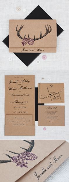 Deer Antlers with Roses Rustic Wedding Invitation - Be My Guest