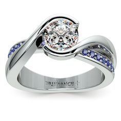 Bezel Sapphire Gemstone Bridge Engagement Ring in White Gold | Image 01