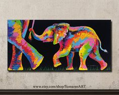 cute elephant elephant painting wall decor  20cmWx40cmH
