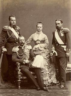 Emperor Alexander II of Russia , Grand Duke Alexei , Maria Duchess of Edinburgh and Alfred Duke of Edinburgh