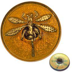 Czech 18mm Dragonfly Amber Glass Button