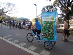 A SodaStream Cage Pedicab cruising around the streets of São Paulo, Brazil.  http://www.sodastream.com/brazil