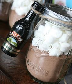 Mason jar with hot chocolate, marshmallows and a mini Bailey's - love this for a gift idea!