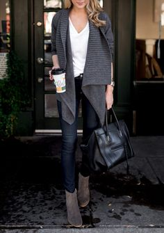 Fall outfit - White tee, grey open cardigan, dark wash skinny jeans and suede booties