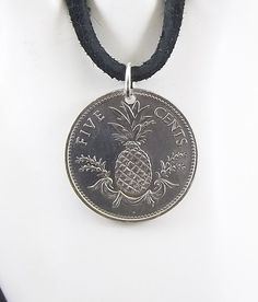 Pineapple Coin Necklace Bahamas 5 Cents Coin by AutumnWindsJewelry