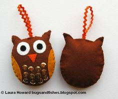 Bugs and Fishes by Lupin: How To: Felt Owl Ornaments