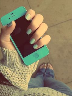 Mint green iPhone.