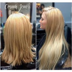 """It's every girl's dream to be able to go from wearing short hair to LONG THICK BEAUTIFUL hair in minutes!!  Have this option every day with Queen C Hair Extensions in Kellye Bomb Blonde in 22"""" - 220g!!  What a before and after picture!"""