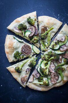 Roasted Vegetable and White Bean Pesto Hummus Pizza