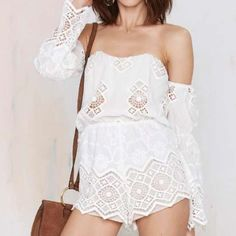 Strapless Romper Playsuit White Stone Cold Fox Lf