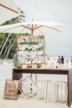 19 Charming Beach and Coastal Wedding Ideas---Couple's Photo Wall for Beach Wedding Beach Wedding Reception, Beach Wedding Photos, Beach Ceremony, Beach Wedding Decorations, Wedding Themes, Wedding Ceremony, Our Wedding, Wedding Venues, Dream Wedding