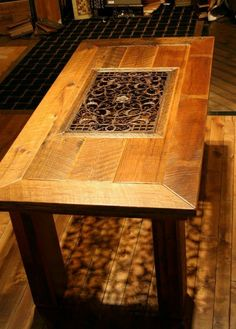 Reclaimed Barn Wood And Register Grate