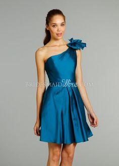 peacock-taffeta-a-line-one-shoulder-cocktail-length-bridesmaid-dress-inverted-pleated-skirt.jpg (594×828)