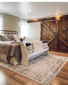 Dream Bedroom, Home Bedroom, Bedroom Ideas, Barn Bedrooms, Farmhouse Master Bedroom, Master Bedroom Makeover, Rustic Master Bedroom Design, Style Deco, My New Room
