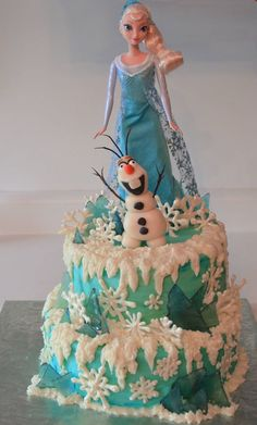 "8"" and 10"" stacked cakes, white chocolate snow flakes and peppermint candy ice shards. Buttercream frosting and piping. Modeling c..."