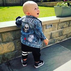 Saint + Soldier - Custom Made Personalised Denim Jackets with Patches Baby Denim Jacket, Denim Jacket Patches, Jean Jacket Outfits, Customised Denim Jacket, Custom Denim Jackets, Baby Boy Jackets, Denim Fashion, Kids Fashion, Painted Jeans