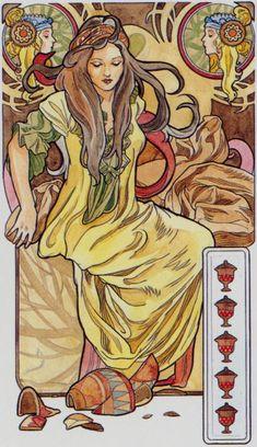 5 de coupes - Tarot art nouveau par Antonella Castelli
