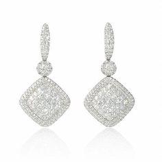 NEW: Diamond dangle earrings featuring 394 round brilliant cut white diamonds 4.15ctw set in 18k white gold.  #newyork #diamondjewelry #love #beautiful #firenzejewels