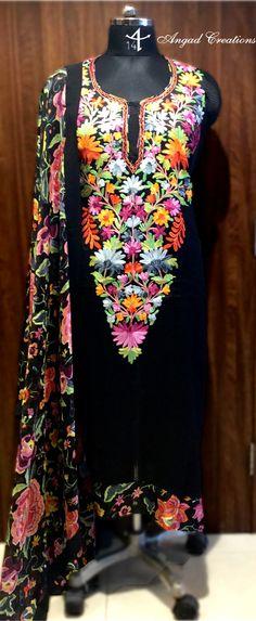 Black Suit #aari #embroidery #kashmiri #work #Fashion #indian #women #indianfashion #black #ethnic #designer #wear #traditional #embroidered #multicolor #printed #dupatta #dress