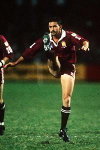 Gary Belcher kicking for Queensland in State of Origin game