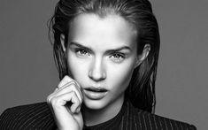 Download wallpapers Josephine Skriver, monochrome portrait, 4k, photoshoot, beautiful woman, face, black and white photo, Danish top model