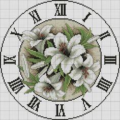 a cross stitch clock Cross Stitch Love, Cross Stitch Flowers, Counted Cross Stitch Patterns, Cross Stitch Charts, Cross Stitch Designs, Cross Stitch Embroidery, Cross Stitching, Chiffon, Gigli
