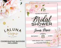 Bridal Shower Invitation Watercolor Floral Shower by LaLunaDesigns